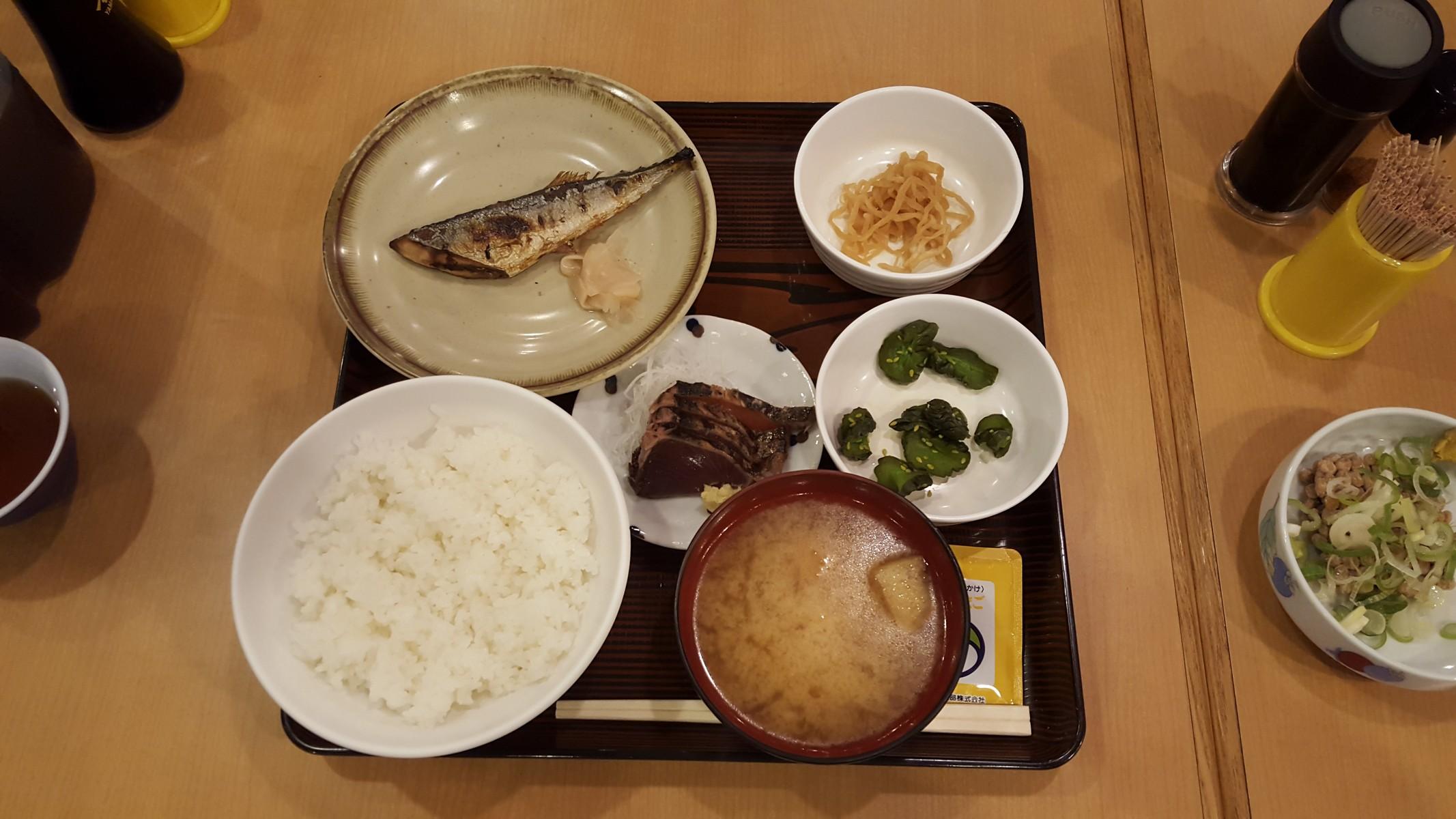 「日替定食B(かつおたたき、新さんま焼1/2尾)」【かぶき本店/神田】