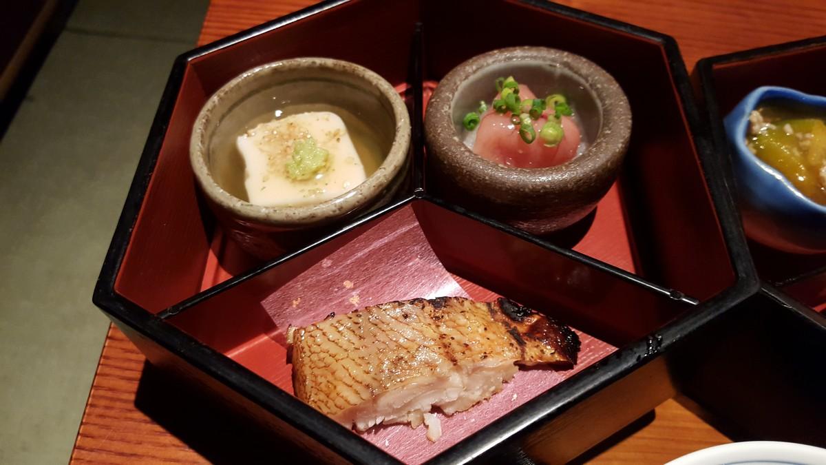 辛子明太子と大根おろし、とろとろ豆腐のあんかけ、焼き魚【京町家/小伝馬町】