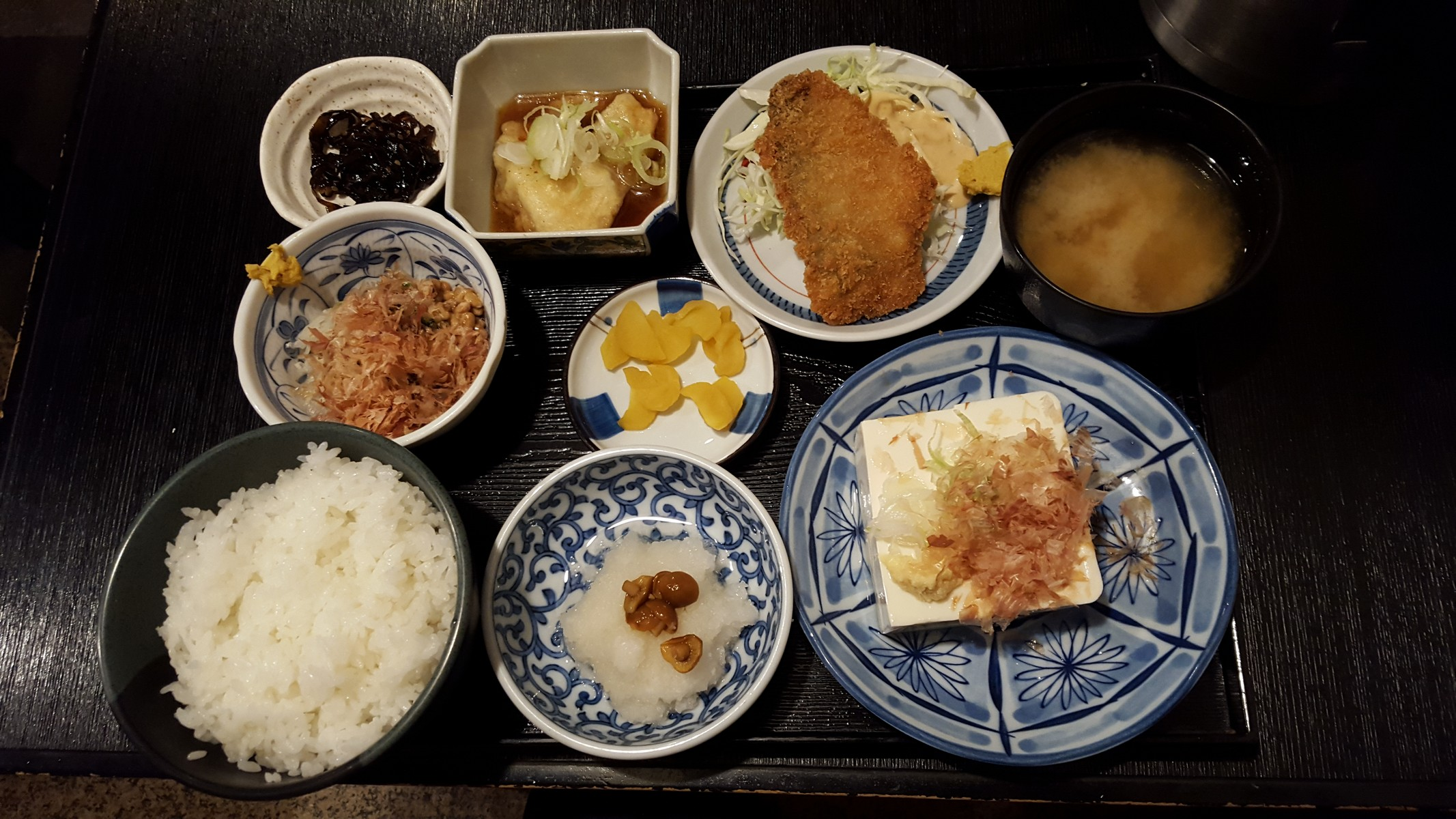 納豆冷奴定食+アジフライ【一亀/小伝馬町】